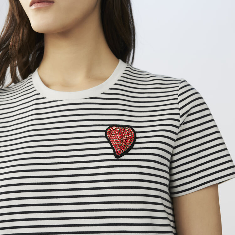 Striped t-shirt with heart badge : Tops & T-Shirts color Stripe