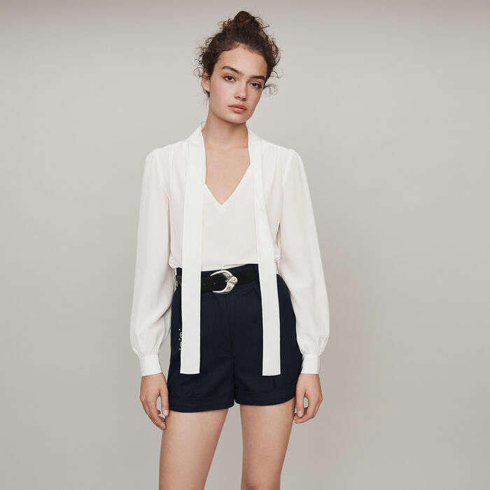 Pussycat bow silk top : Tops & T-Shirts color White