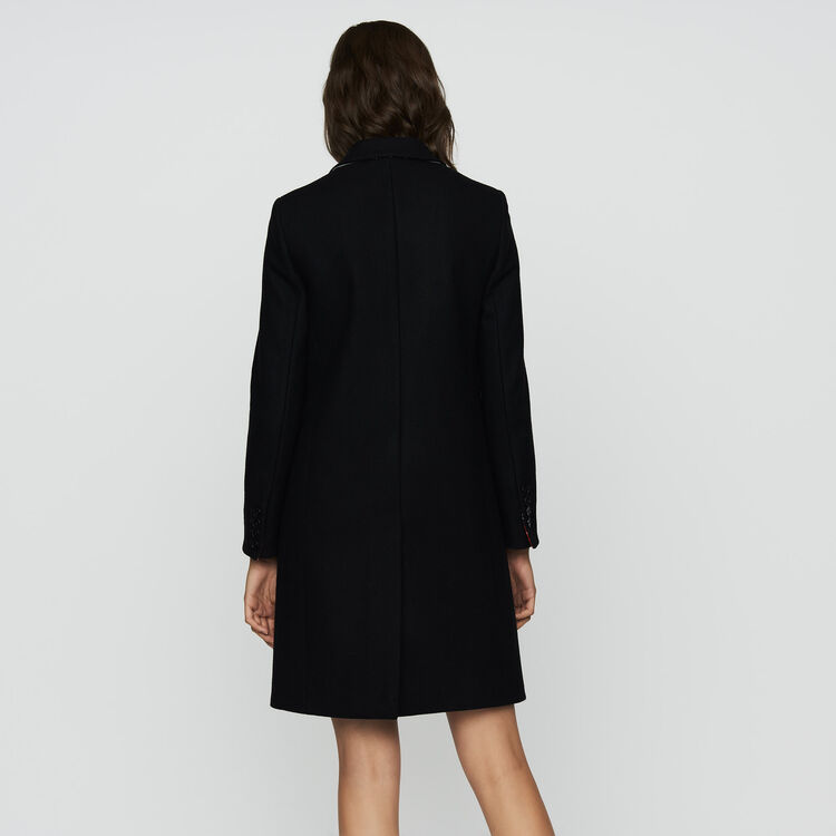 Straight coat in virgin wool : Coats & Jackets color Black 210
