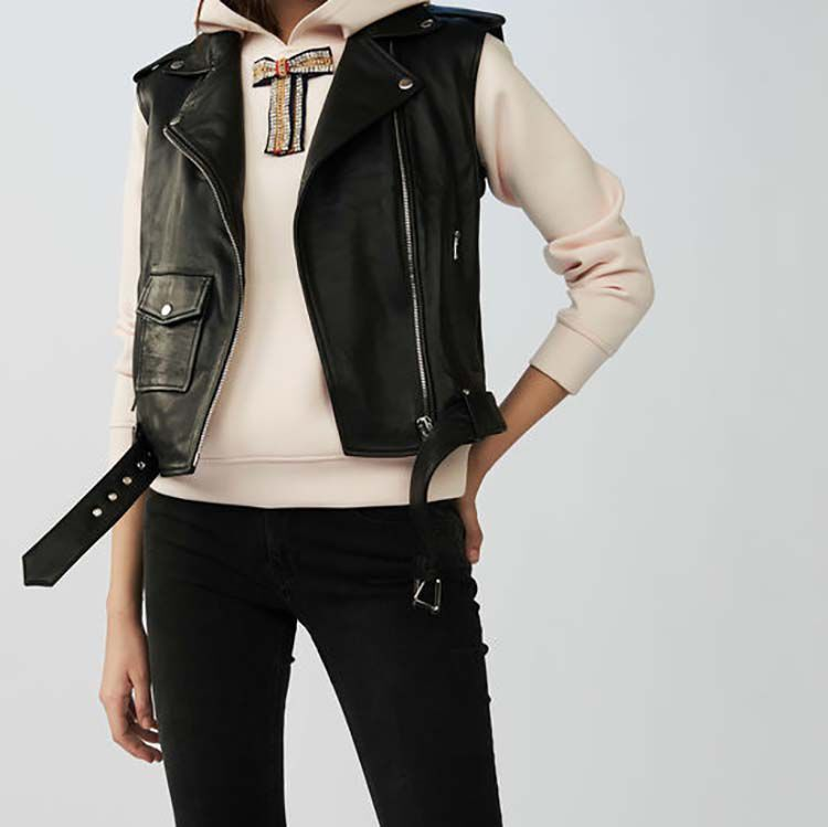 Sleeveless leather vest : Coats & Jackets color Black 210