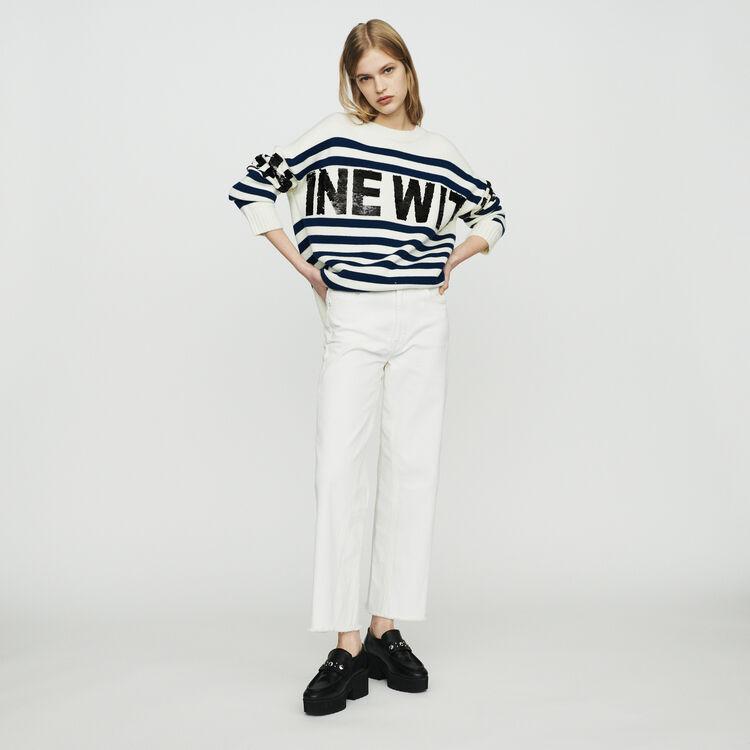 Sailor striped sweater in wool blend : Sweaters color Ecru