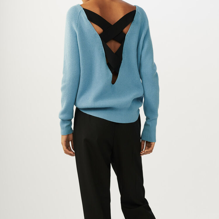 V-back sweater : Sweaters color Blue Sky