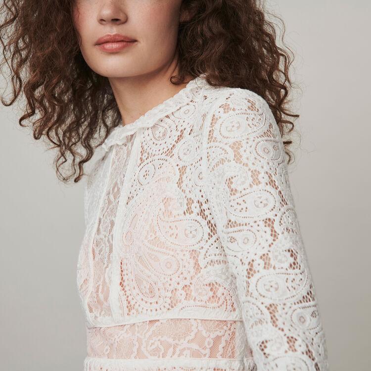 Short guipure lace dress : Dresses color Ecru
