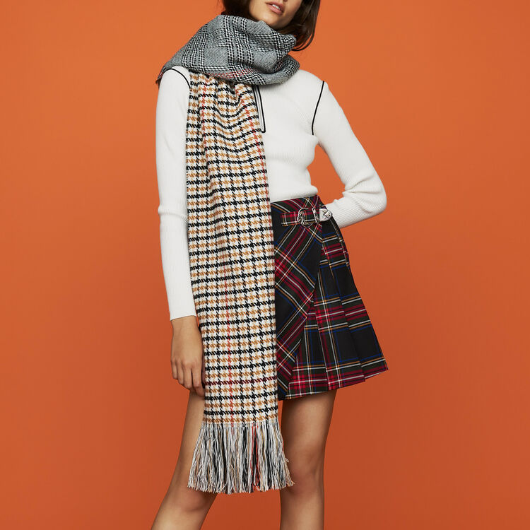 Knit scarf in plaid mix : Other Accessories color Multico