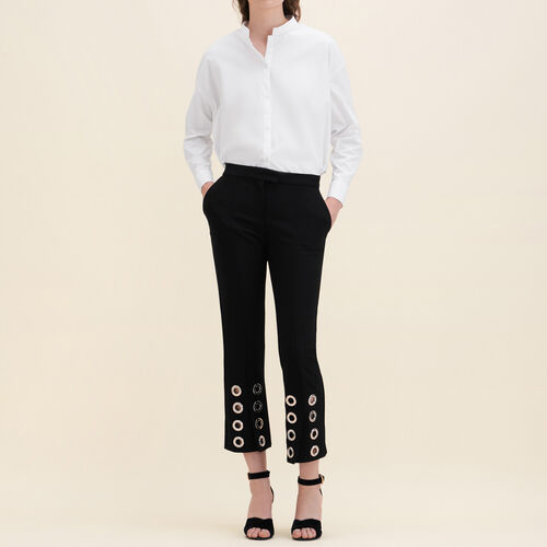 Straight-cut crêpe trousers with eyelets - Pants & Jeans - MAJE