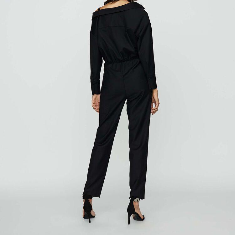 Cold shoulder jumpsuit : Jumpsuits color Black 210
