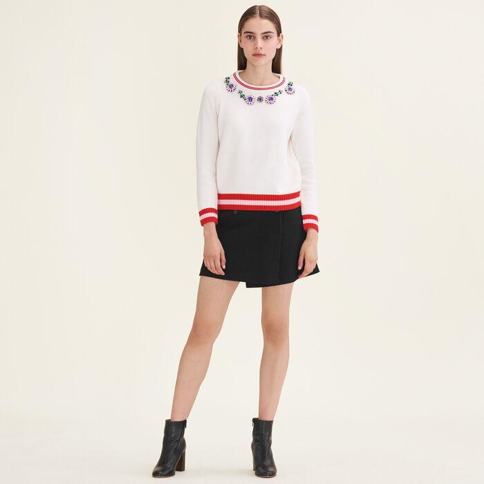 Jumper with decorative jewellery : Sweaters color Ecru