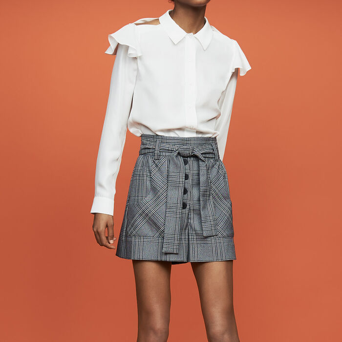 Ruffled silk blouse : Tops & T-Shirts color White