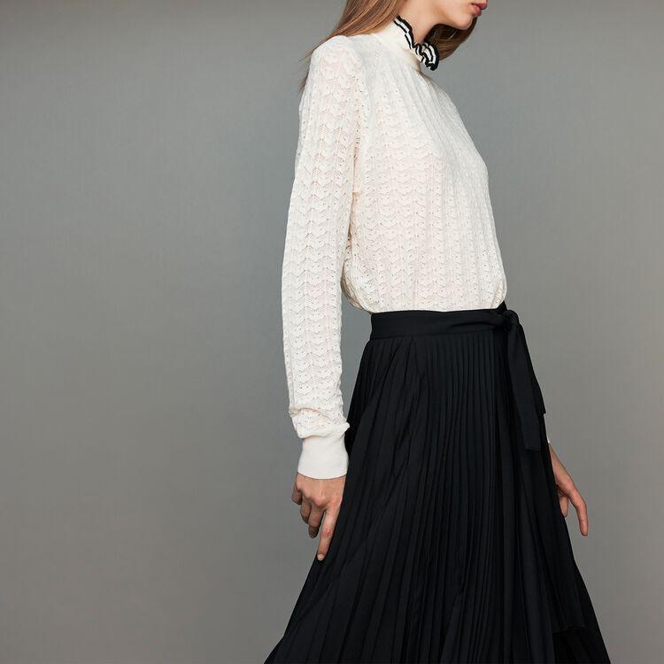 Sweater in chevron knit : Sweaters color ECRU