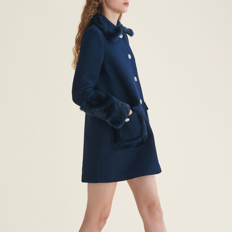 Straight-cut wool blend coat with rabbit : Coats & Jackets color Blue