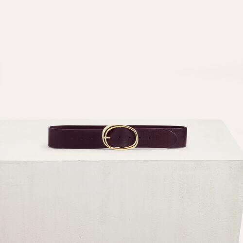 Wide leather belt : Belts color Burgundy