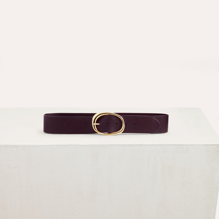 Wide leather belt : Shoes & Accessories color Burgundy