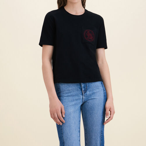 Cotton T-shirt - Tops & T-Shirts - MAJE