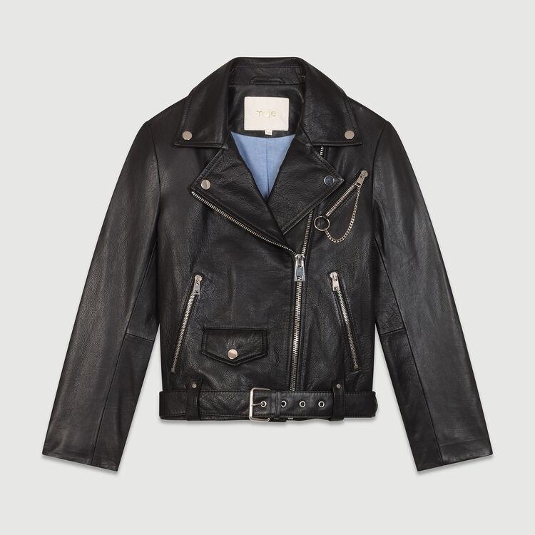 Leather biker jacket : Coats & Jackets color Black 210