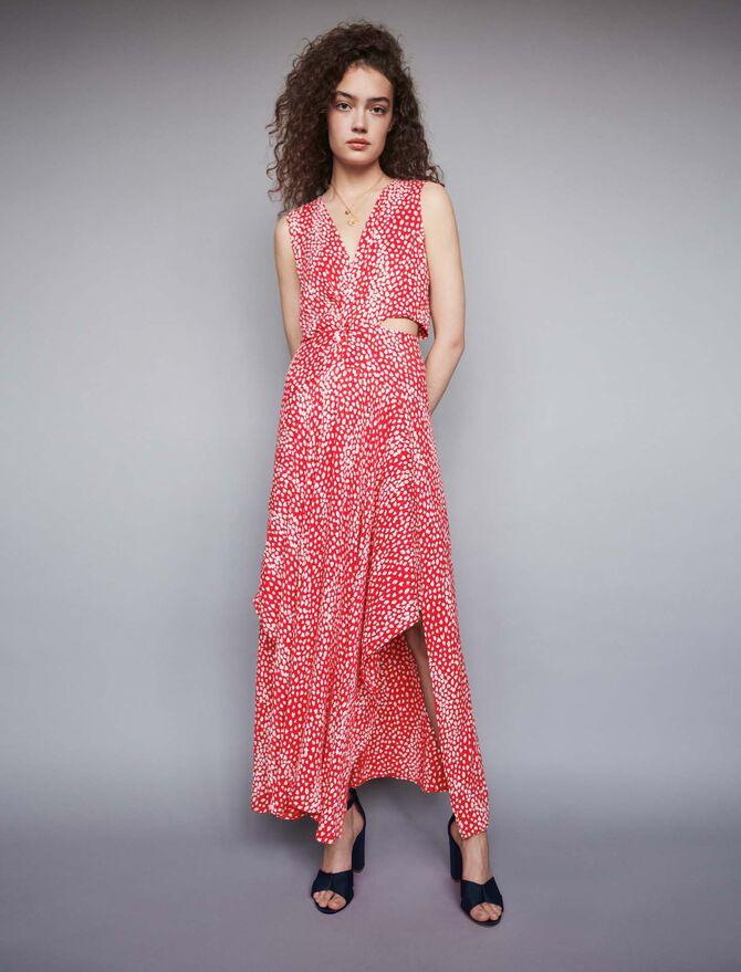 Jacquard-printed long knotted dress - Dresses - MAJE