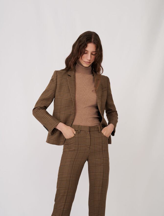 Checked fitted suit jacket - Coats & Jackets - MAJE