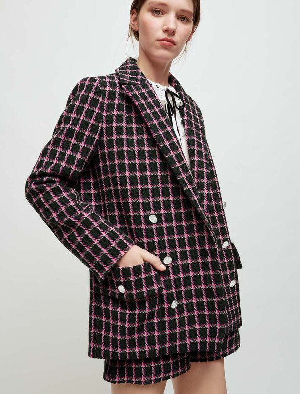 마쥬 오버사이즈 체크 자켓 MAJE Oversized checked jacket,Fuchsia