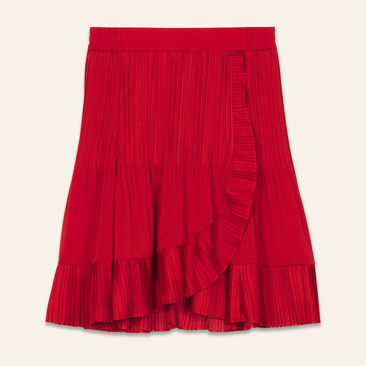 Wrap short pleated skirt : Skirts & Shorts color ROUGE