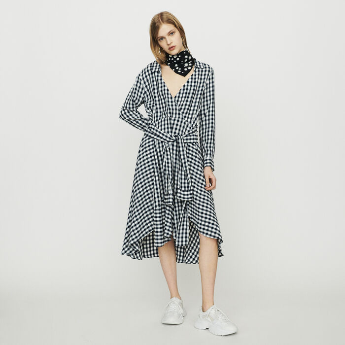 Midi shirt dress in gingham print : Dresses color CARREAUX