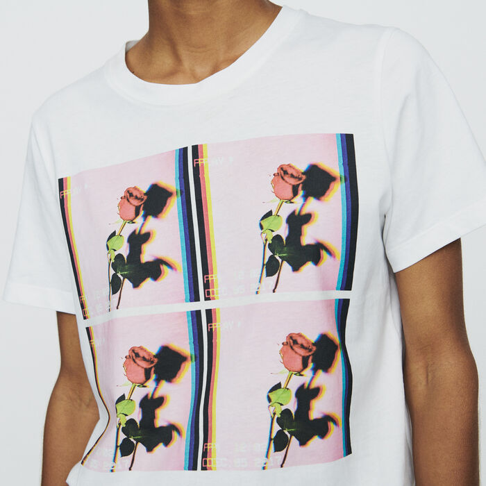 Printed T-shirt : Tops & T-Shirts color White