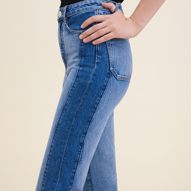 Straight-cut faded denim jeans : Pants & Jeans color Blue
