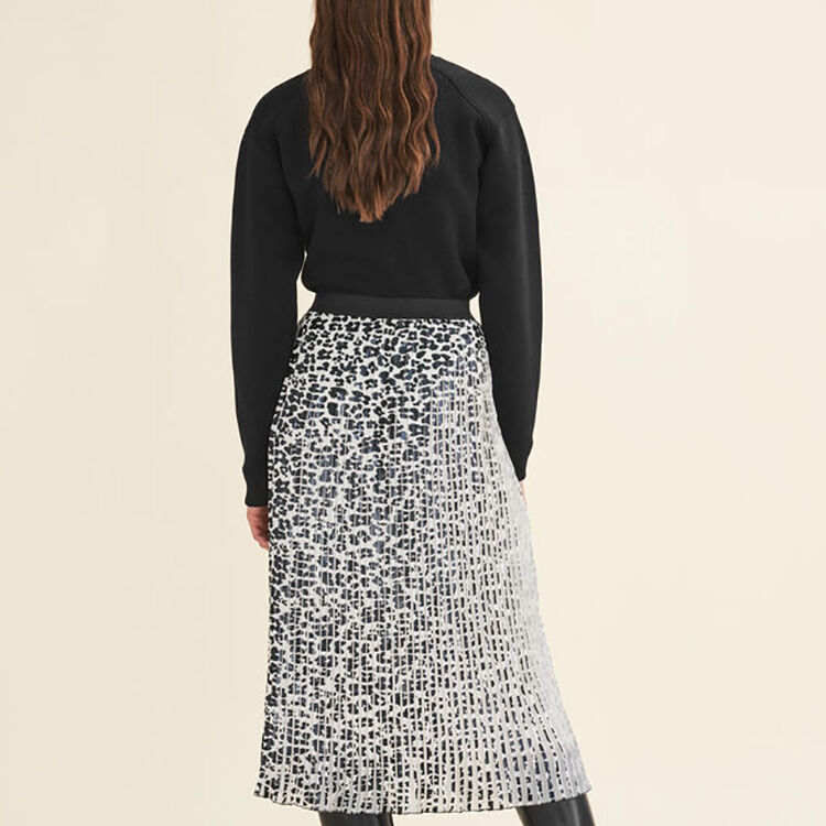 Leopard-print pleated skirt : null color