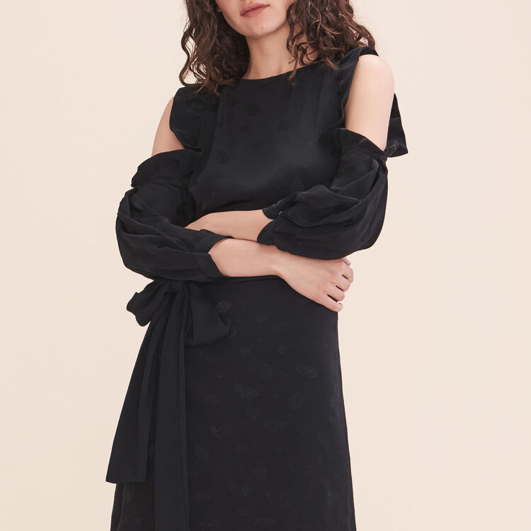 Printed crêpe off-the-shoulder dress : Dresses color Black 210