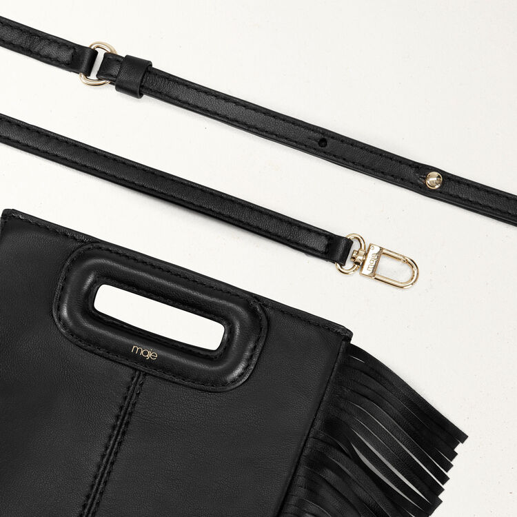 Fringed leather M minibag : M Mini color Black 210