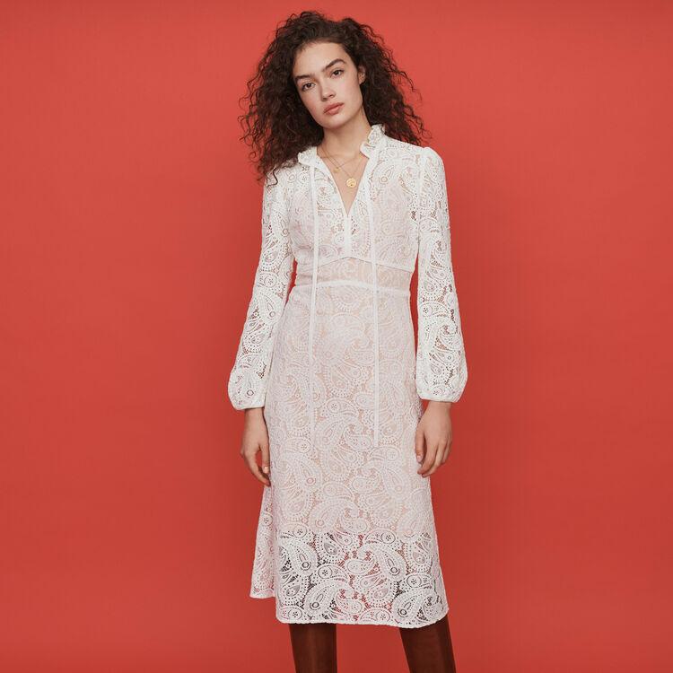 Guipure lace midi dress : Dresses color Ecru