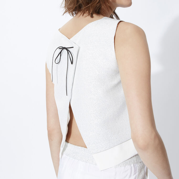 Cropped dual-fabric top : Copy of Sale color