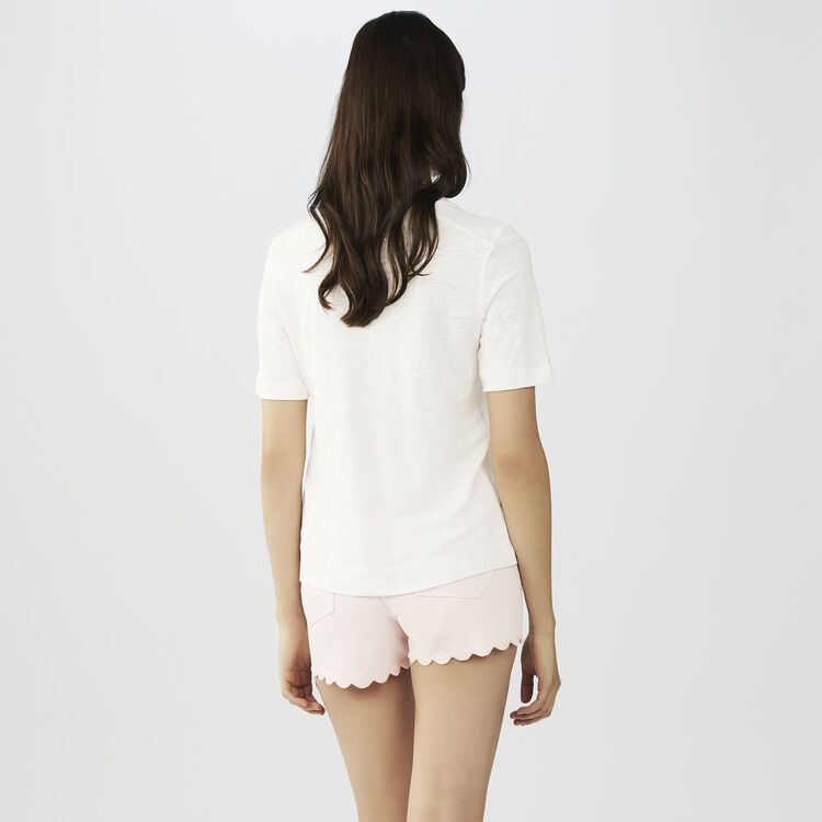 Linen t-shirt with embroidery : Tops & T-Shirts color ECRU