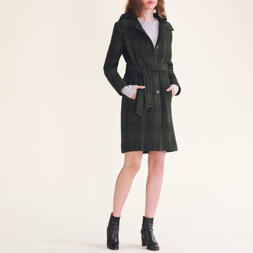 Long checked coat : Coats & Jackets color Jacquard