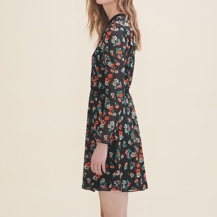 Printed dress with ribbed braid trim : Dresses color Print