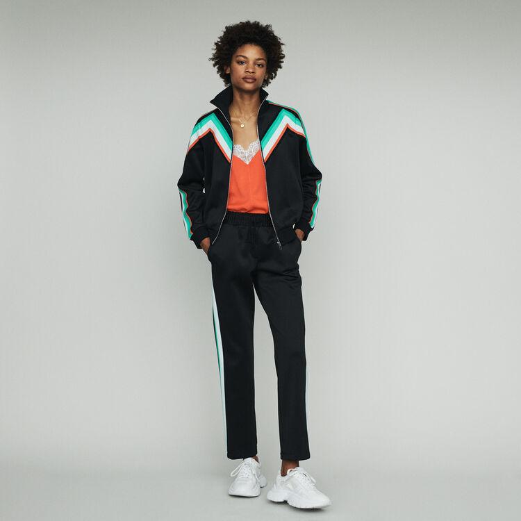 Zipped sport jacket : Sweaters color Black 210