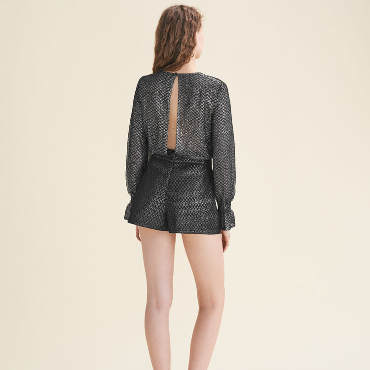 Tulle and lurex playsuit : Pants & Jeans color Silver