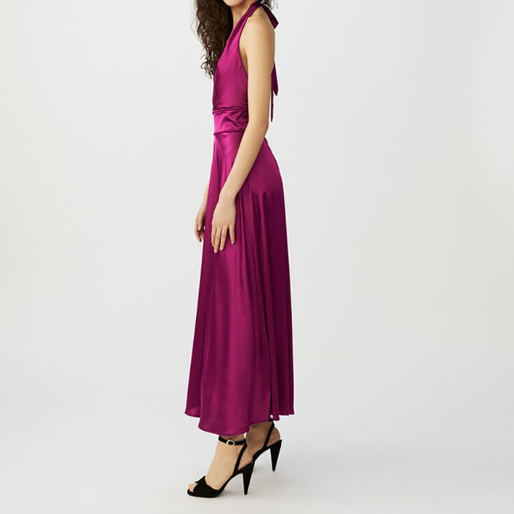 Long sleeveless silk dress : Dresses color Fuschia