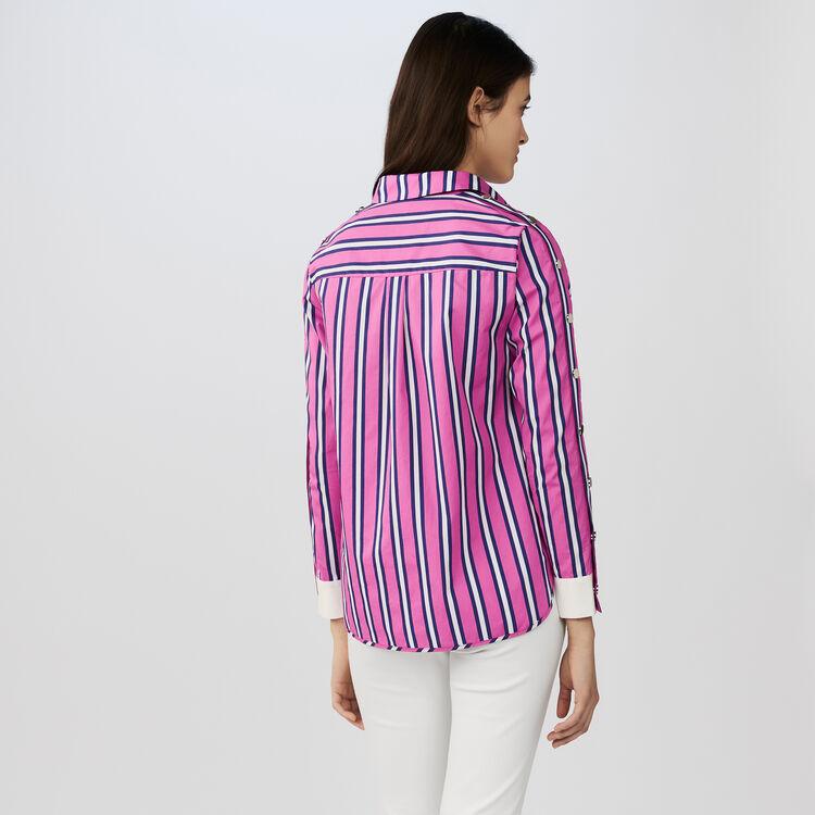 Favorite CENALI Striped cotton shirt with snaps - Tops & T-Shirts - Maje.com CM27