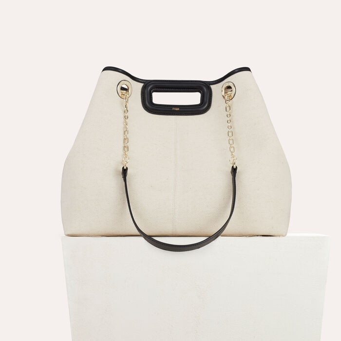 M canvas tote with chain : Other M color Two-Tone