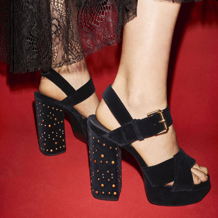 Studded suede high-heeled sandals - Shoes - MAJE