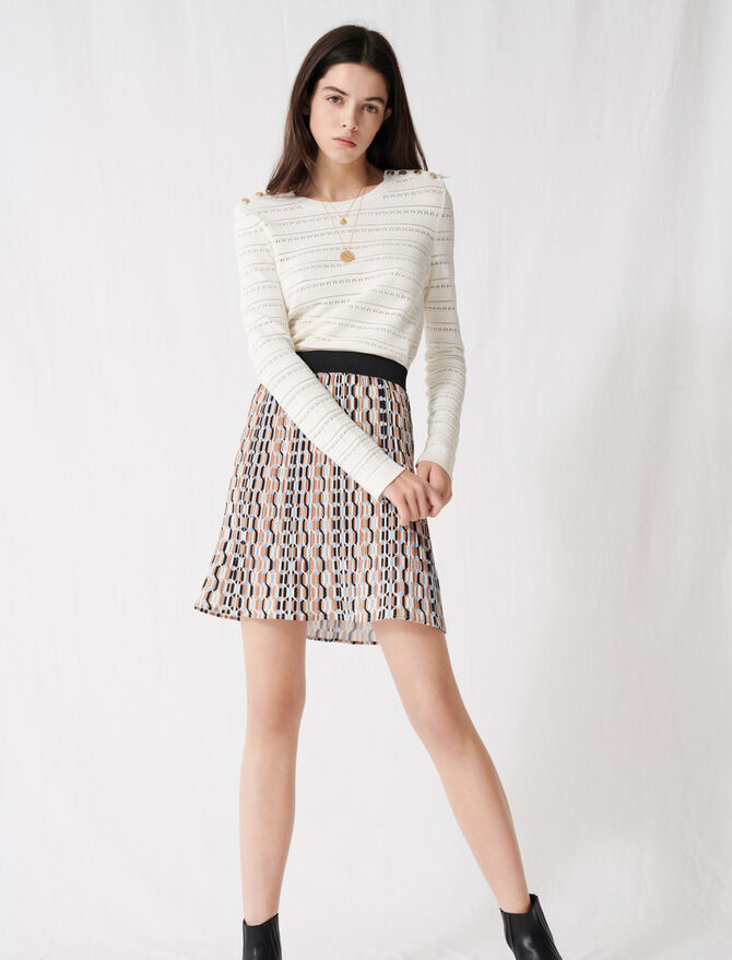 Pleated mini skirt with graphic print -  - MAJE