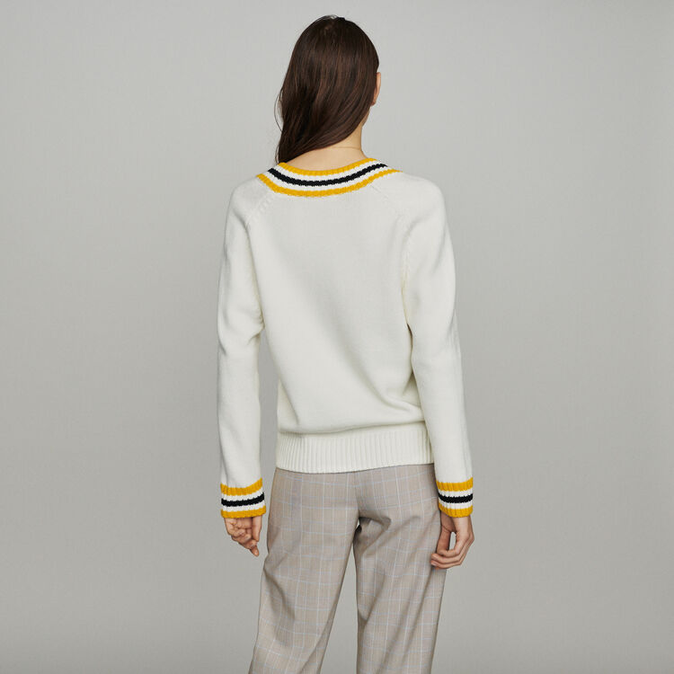 Sweater with contrasted bands : Sweaters color Ecru