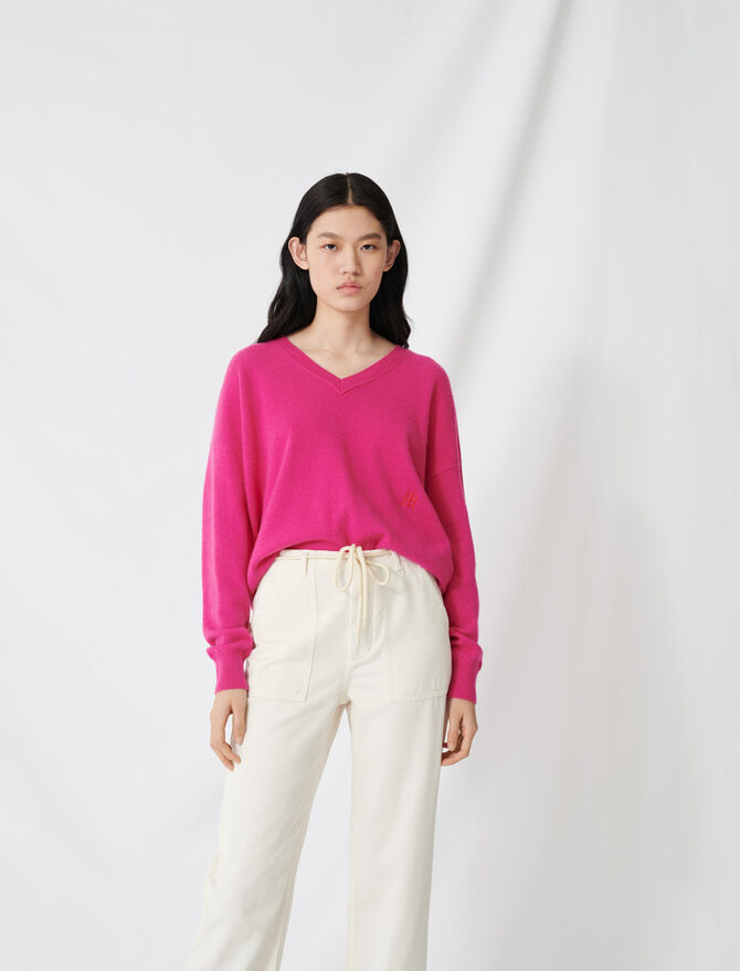 V-neck cashmere jumper - Sweaters - MAJE