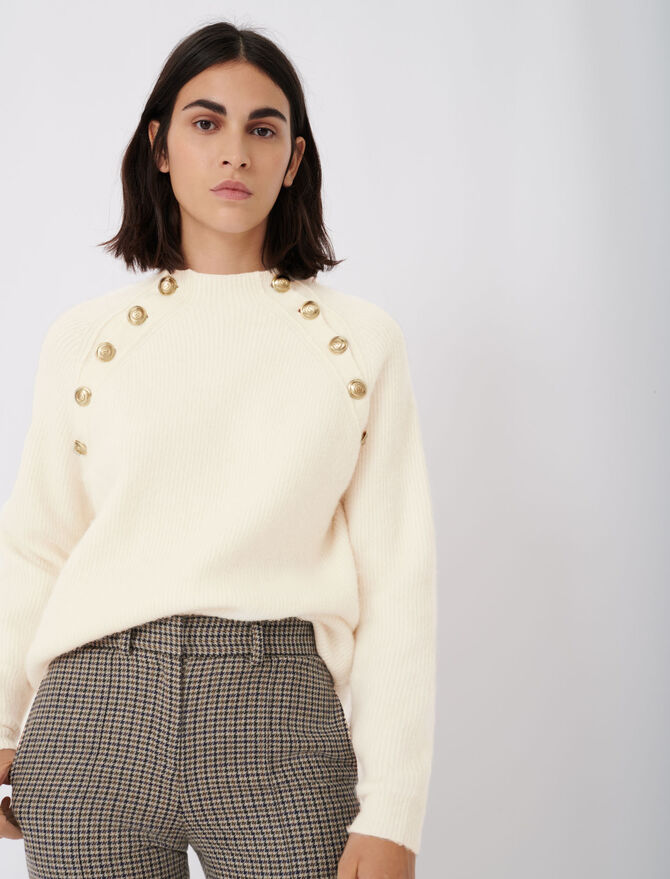 High neck ribbed sweater with buttons - Sweaters - MAJE