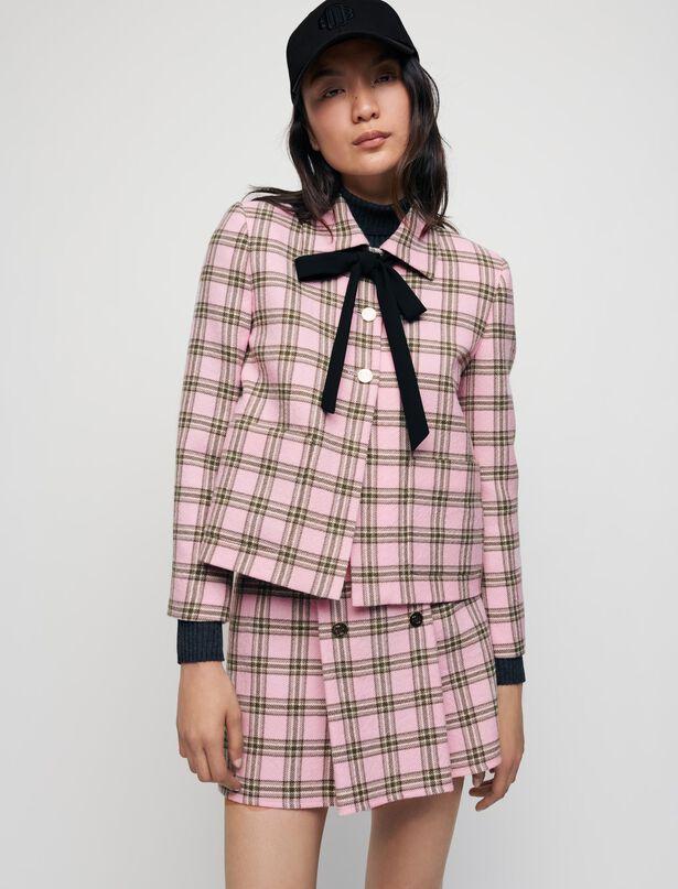마쥬 체크 자켓 MAJE Checked jacket with contrasting necktie,Pink