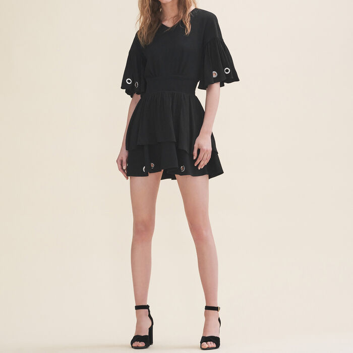 Flowing dress with eyelets -  - MAJE