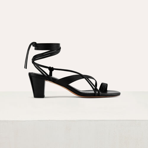 Kitten heel tie-back sandals : Shoes & Accessories color Black 210