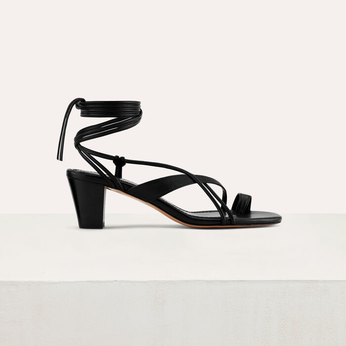 Kitten heel tie-back sandals : Shoes & Accessories color Black 210