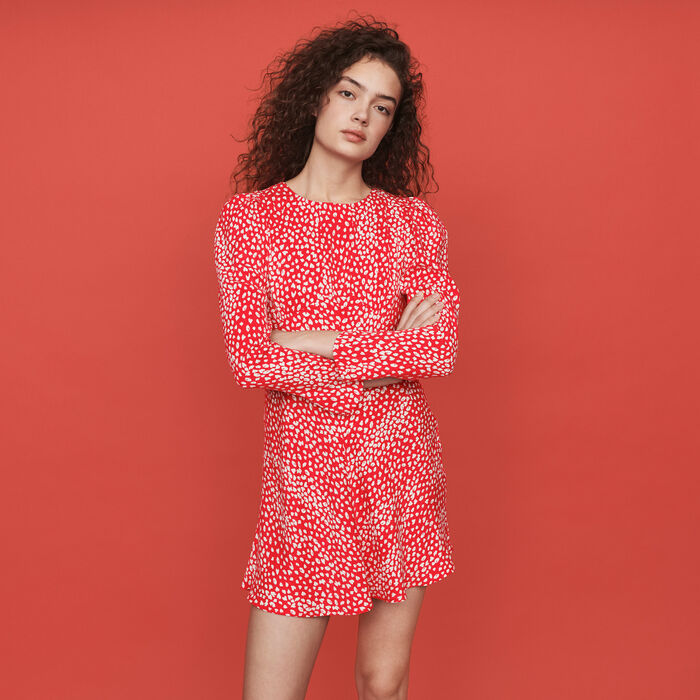 Jacquard-printed gathered dress : Dresses color Red