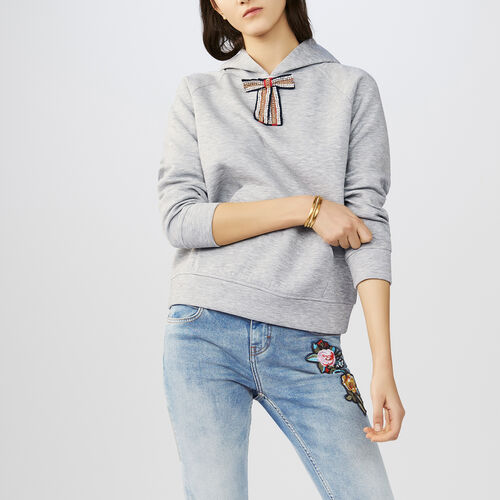 Hooded sweatshirt with removable bow : Tops & T-Shirts color Grey