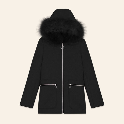 Coat with decorative zips : Coats & Jackets color Black 210